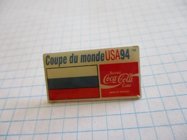 FLAG RUSSIA РОССИЯ PIN BADGE DRAPEAU RUSSIE FOOT CUP 94 COCA VINTAGE PINS us6 5