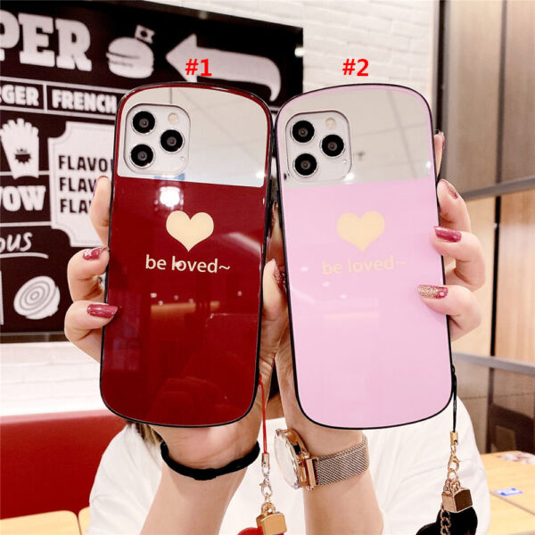 Glass Phone Case For iPhone 12 12Pro 11 Max X XR Xs 7 8 SE2020 Simple Love Cover $8.79