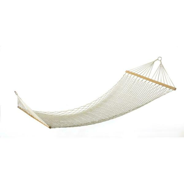 Extra Wide XL White Cotton Rope Mesh Net 2 Person Double Hammock Swing 440 lbs $51.43