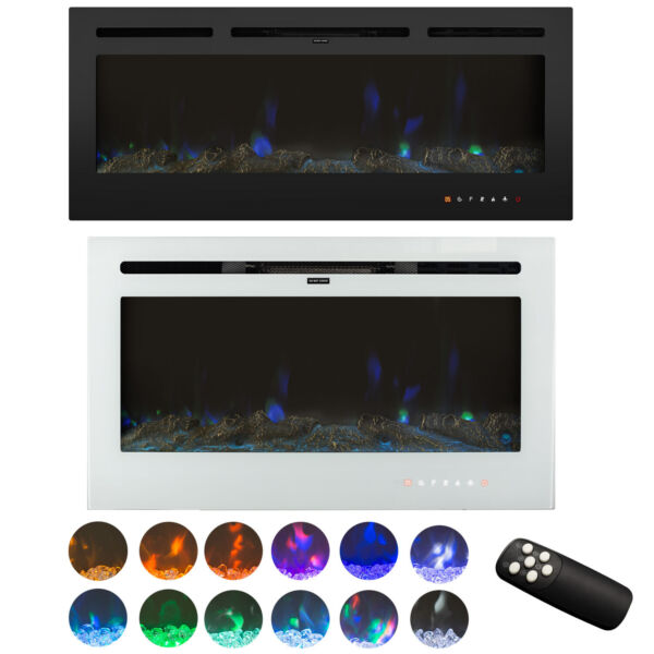 36#x27;#x27; 50#x27;#x27; Electric Fireplace Remote Control Wall Mounted LED Screen Touch 1500W