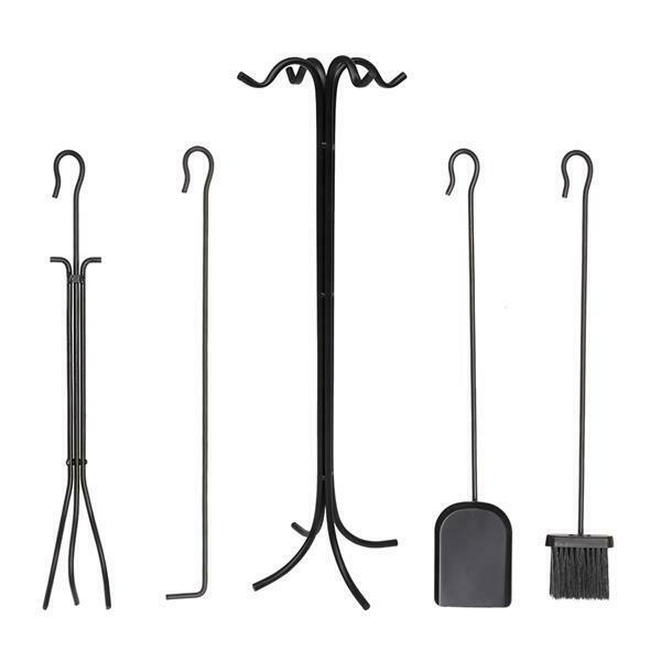5 in 1 Fireplace Iron Tools Set Brush Shovel Poker Hook Tong w Bracket Stand
