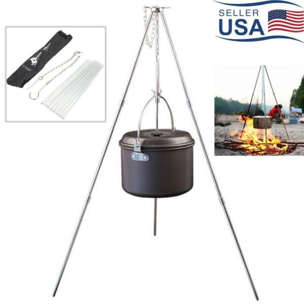 Outdoor Campfire Cooking Tripod Grill Grate Stand Camping Fire Pit Tool Folding