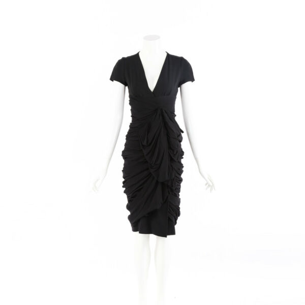 Burberry Dress Black Mulberry Silk Ruched SZ 38 $173.00