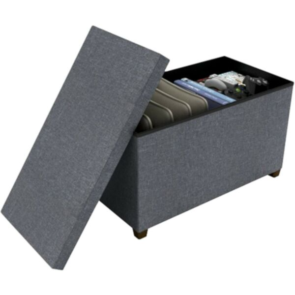 NEW dar Living Storage Ottoman Gray 17x34quot; coffee table bench seat chest hidden