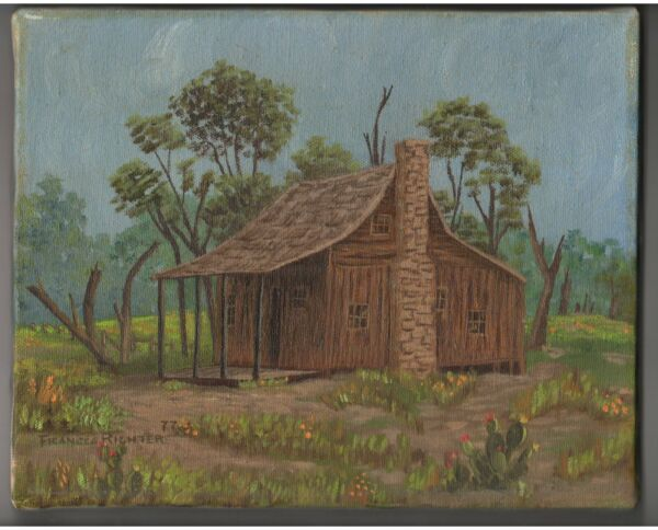 Original 1977 Texas Pioneer Cabin Oil Painting Stretched Canvas Signed 8 x 10