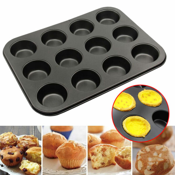 12 Cups Muffin Mold Non stick Cupcake Pan for Cake Baking Tool Bakeware Mold US