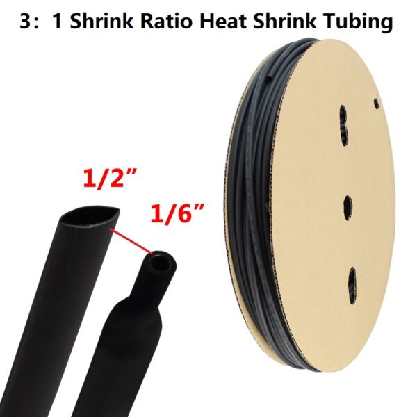 1 2quot; Heat Shrink Tubing 3:1 Waterproof Glue Wire Harnesses Wrap Connector 12ft $11.82