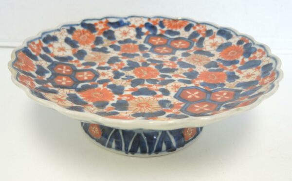 Antique Japanese Imari Serving Dish Comport Chrysanthemum Pattern