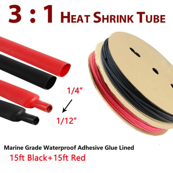 3:1 Heat Shrink Tubing Tube Sleeve Kit Electrical Assorted Cable Wire Wrap 1 4quot; $15.29