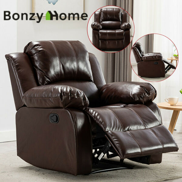 Recliner Armchair Single Sofa Leather Padded Seat Lounge Couch Home Furniture $389.99