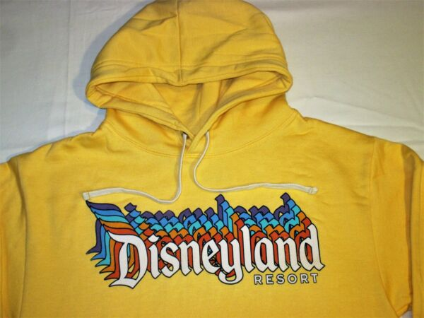 NWT Disney Parks DISNEYLAND RESORT Yellow HOODIE Retro Hooded Sweatshirt Adult S $44.99