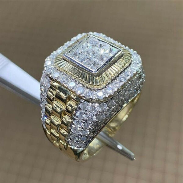 Fashion 925 Silver Rings for Men White Sapphire Wedding Party Jewelry Size 7 13