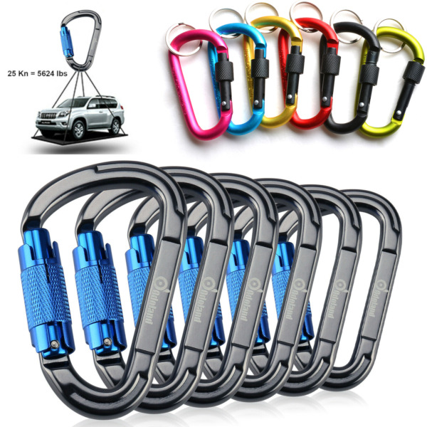 D Shape Heavy Duty Aluminum Carabiner Clip Snap Hook Locking Camping Climbing $15.99