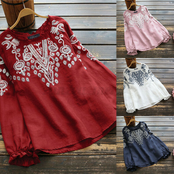 US STOCK Women Linen Cotton Embroidered Shirts Tops Ladies Casual Blouse T Shirt