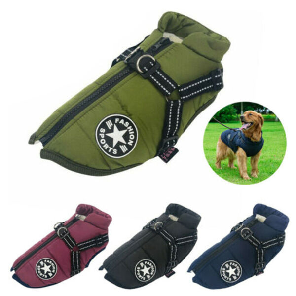 Small Large Pet Dog Clothes Vest Jacket Warm Puppy Waterproof Winter Padded Coat $16.99