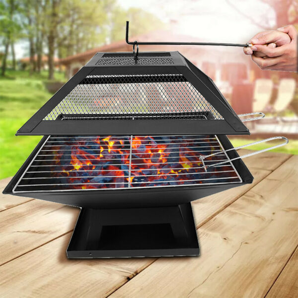 34quot; Outdoor Fire Pit Backyard Patio Garden Square BBQ Stove FirePit Heater