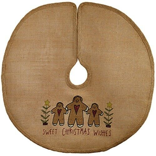 New Primitive GINGERBREAD MAN CHRISTMAS WISHES Burlap Tree Skirt Mini 16quot;