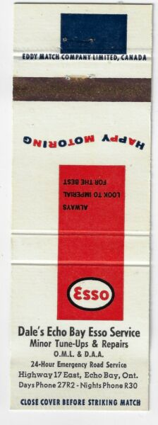 Matchcover ESSO Dale#x27;s Service Echo Bay Ont. Canada Oil Gas
