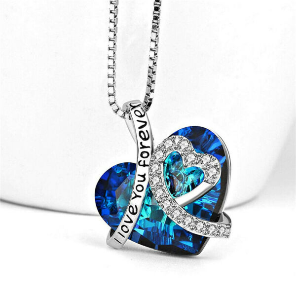 I Love You Forever Heart Pendant Necklace Blue Crystal Jewelry Women Mom Gift