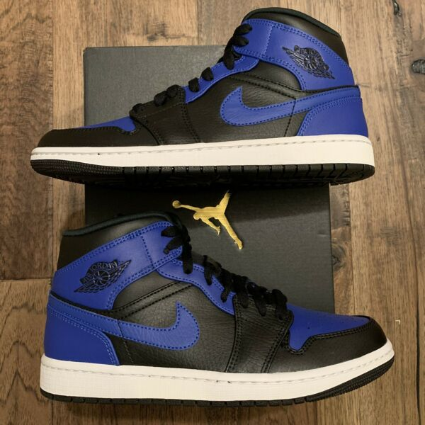 NEW Nike Air Jordan 1 Mid #x27;Hyper Royal#x27; Black Men#x27;s Sizes 554724 077