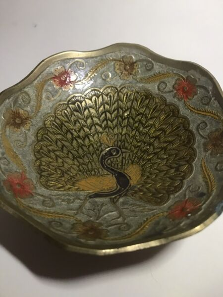 vintage Small brass Peacock trinket dish Made In India