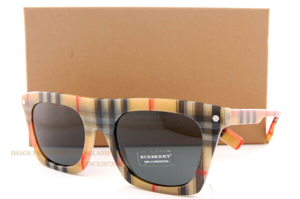 Brand New Burberry Sunglasses BE 4318 377887 Camron Vintage Check Grey For Men $169.99