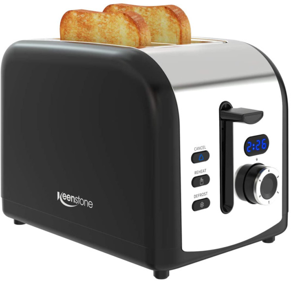 Keenstone Black Toaster 2 Slice Lcd Screen Stainless Steel Retro Toaster With T