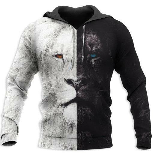 Beautiful Black White Lion For Men and Women Hoodie 3D Size S 5XL Washable $39.99