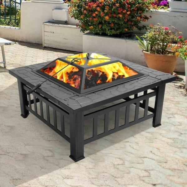 Portable Courtyard Metal Fire Bowl Wood Burning Fire Pit with Accessories Black