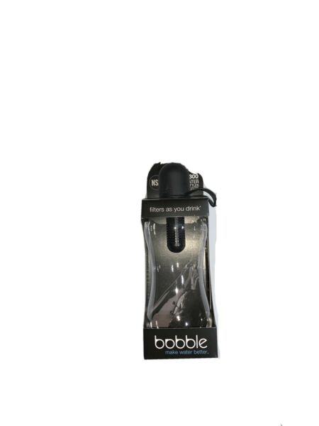 Bobble Water Bottle with Filter Carry Tether Cap Black Medium 18.5 Ounce NEW