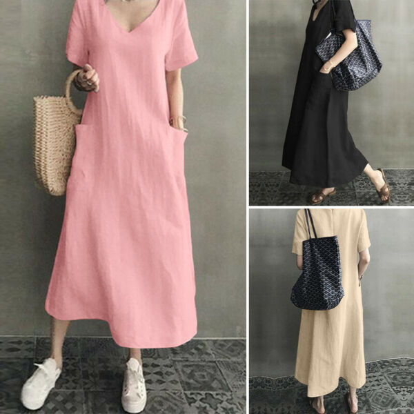 US STOCK Women#x27;s Linen Cotton V Neck Long Maxi Shirt Dress Plain Loose Sundress $19.79