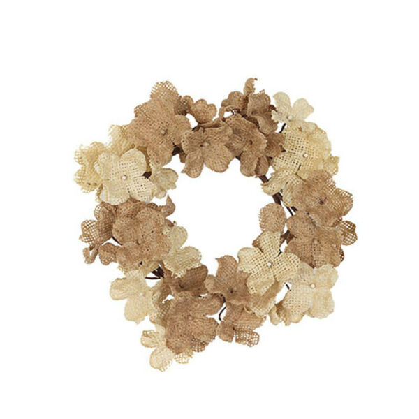 New Rustic Farmhouse Shabby Wedding BURLAP DAISY FLOWER CANDLE RING Wreath 4quot;