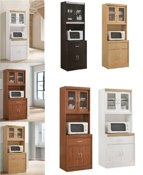 Wood Storage Cabinet Kitchen Pantry Cupboard Organizer Furniture Tall 71 inch