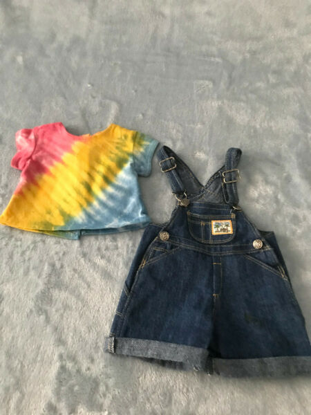American Girl EARTH DAY SHIRT AND JEAN OVERALLS PLEASANT COMPANY 1996 RETIRED