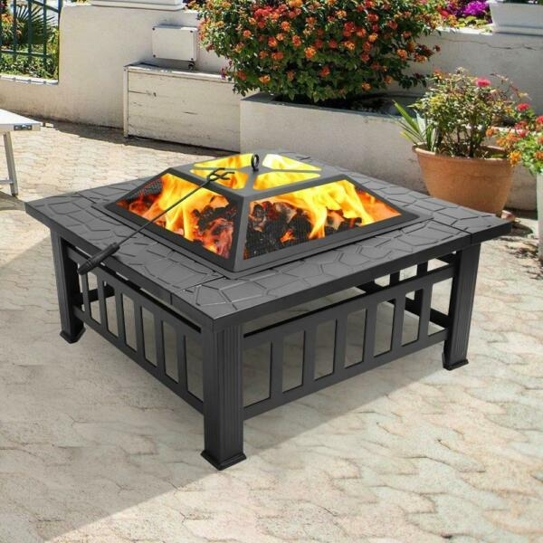 32 Inch Wood Burning Fire Pit Outdoor Heater Backyard Patio Stove Fireplace