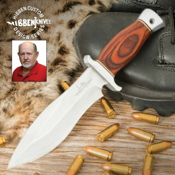 Gil Hibben Bloodwood Edition Alaskan Boot Knife Full Tang Leather Sheath Clip