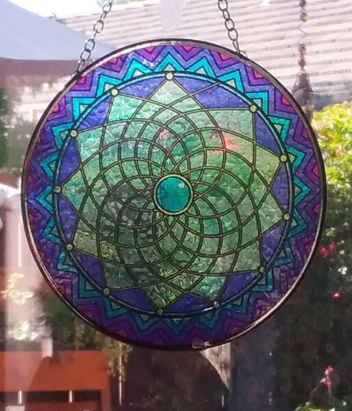 Hanging Stained Glass Look SEED OF LIFE SUNCATCHER Sacred Geometry FLOWER