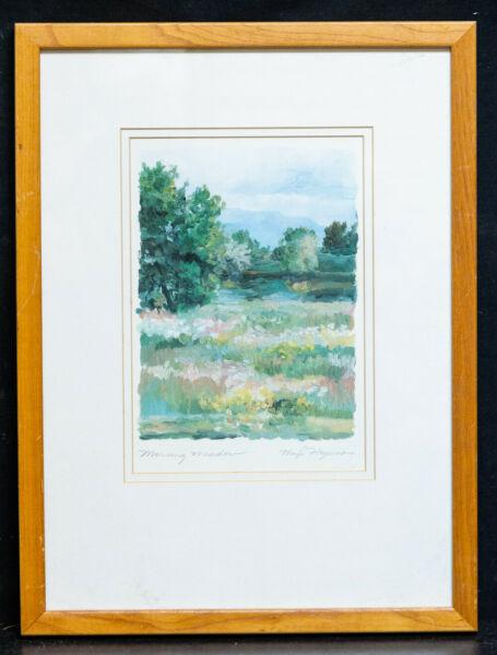Vintage American Impressionist Original Oil Painting quot;Morning Meadowquot;