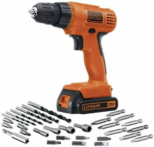 BLACKDECKER 20V MAX Cordless Drill Driver with 30 Piece Accessories LD120VA