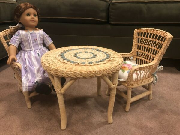 American Girl Pleasant Company Samantha Wicker Table And Chairs. Retired.