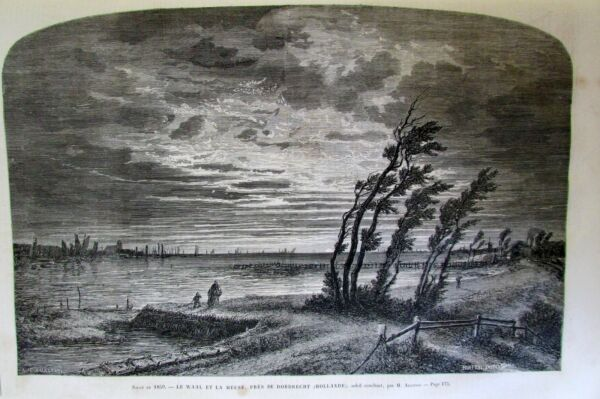 Engraving Country Low Waal amp; Meuse Dordrecht Dog Earth New Universe Shown 1859 $9.93