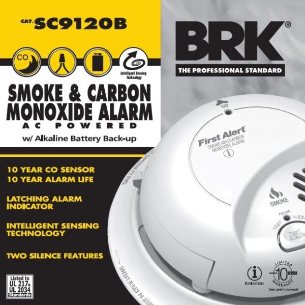 First Alert BRK SC9120B Smoke And Carbon Monoxide With Battery BackUp New In Box $29.99
