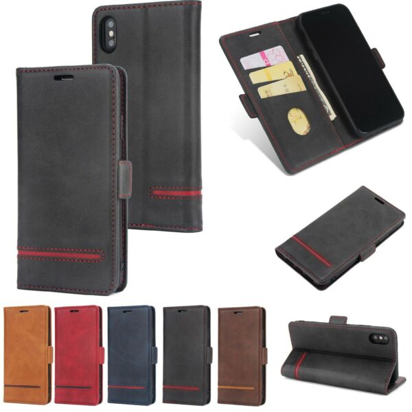 Case For iPhone 6s 7 8 Plus XR XS Max Cover Flip Wallet Leather Magnetic Luxury $9.92