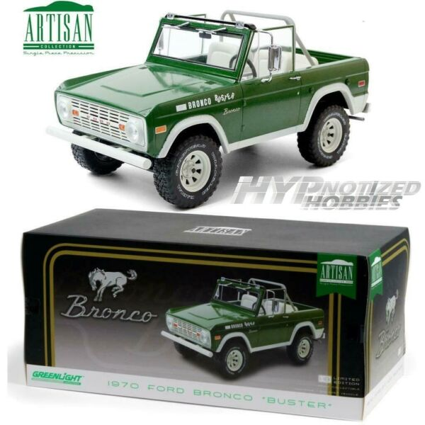 GREENLIGHT 1:18 1970 FORD BRONCO BUSTER DIE CAST GREEN 19084