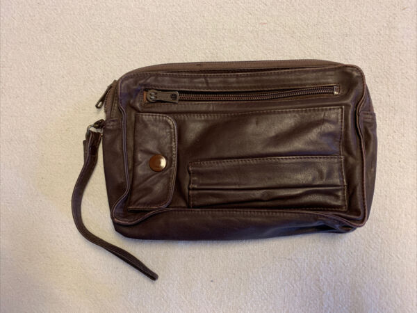 Vintage Small Carrier Bag. Made By Dialon. Brown Leather. Good Condition $18.00