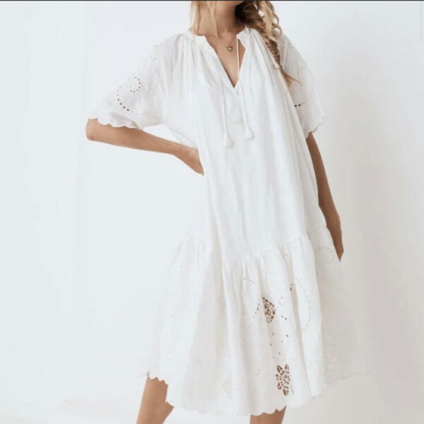 Spell And The Gypsy Collective Lala Linen House Midi Dress White Sz L $239.99