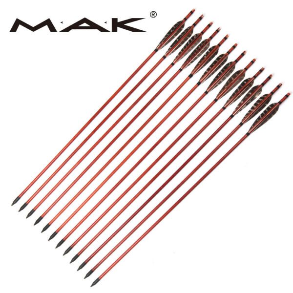 12Pcs 31#x27;#x27; Archery Wood Arrows Real Feathers F Recurve Hunting Target Practice $50.99