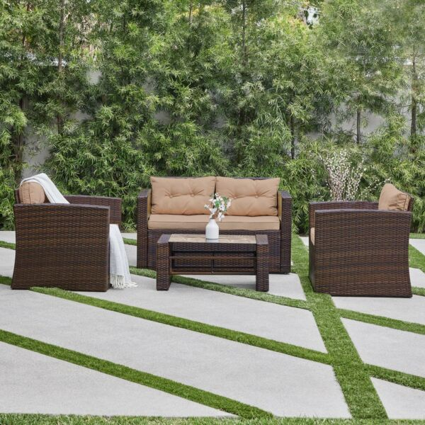 Rattan 4 PC Furniture Set Outdoor Patio Garden Sectional PE Wicker Cushion Sofa $459.99
