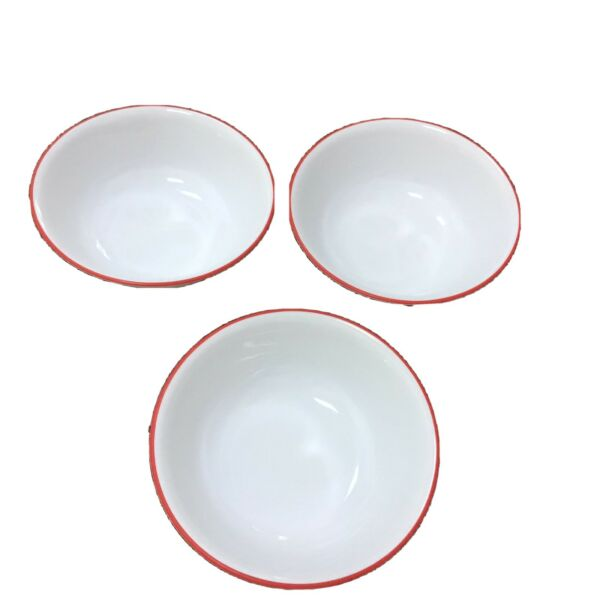 """Corelle Corning Hot Dots Set Of 3 Soup amp; Cereal Bowls Red Rim 6.25"""" USA"""