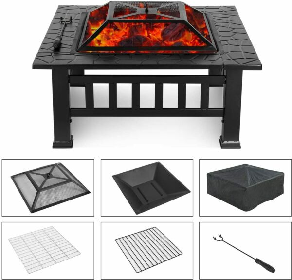 32quot; Metal Patio Fire Pit Backyard Garden Wood Burning Stove Firepit HeaterCover